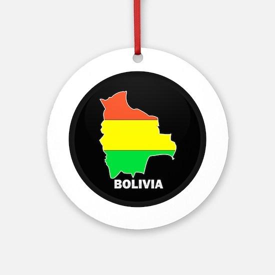 Flag Map of Bolivia Ornament (Round)