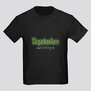 Vegetarian and loving it Kids Dark T-Shirt