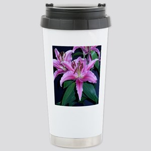 Pink Pollen Lily Stainless Steel Travel Mug