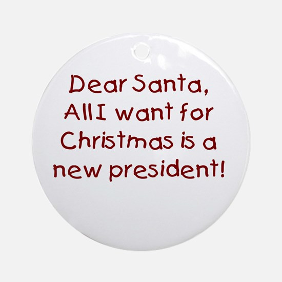 Anti-Bush Dear Santa Ornament (Round)