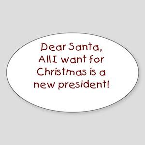 Anti-Bush Dear Santa Oval Sticker