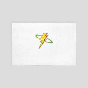 Awesome Distressed Vintage Lightning T 4' x 6' Rug