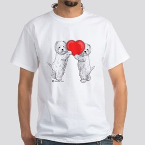 Westies with Heart White T-Shirt