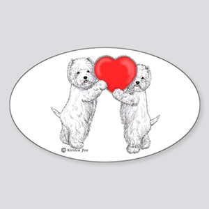 Westies with Heart Sticker (Oval)