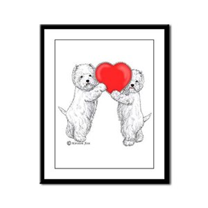 Westies with Heart Framed Panel Print