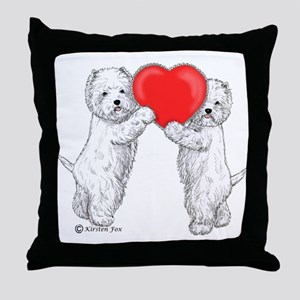 Westies with Heart Throw Pillow