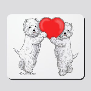 Westies with Heart Mousepad
