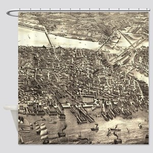 Vintage Pictorial Map of Boston (18 Shower Curtain
