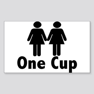 2 girls 1 cup Rectangle Sticker