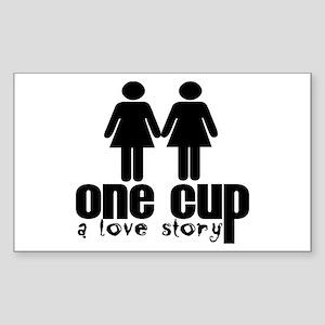 2 girls 1 cup Rectangle Sticker
