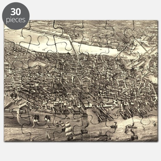Vintage Pictorial Map of Boston (1880) Puzzle
