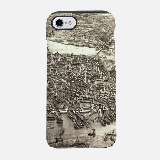 Vintage Pictorial Map of Bosto iPhone 7 Tough Case
