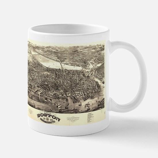 Vintage Pictorial Map of Boston (1880) Mugs