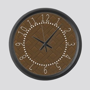 Brown Trellis White Numbers Large Wall Clock