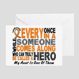 HERO Comes Along 1 Aunt LEUKEMIA Greeting Card