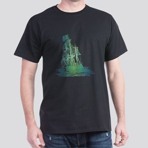 Pirate Ship / Aquatic Design Dark T-Shirt