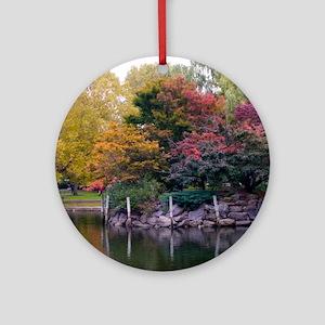 Public Garden in Autumn Ornament (Round)