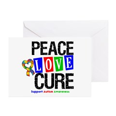 Autism PeaceLoveCure Greeting Cards (Pk of 20)