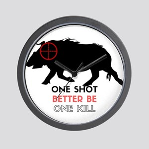 One Shot One Kill Wild Boar Hog Wall Clock