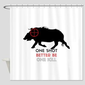 One Shot One Kill Wild Boar Hog Shower Curtain