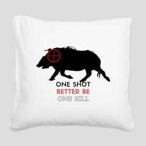 One Shot One Kill Wild Boar H Square Canvas Pillow