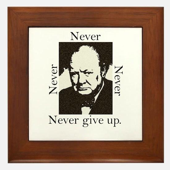 """""""Never Give Up"""" Framed Tile"""