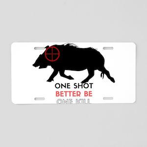 One Shot One Kill Wild Boar Aluminum License Plate