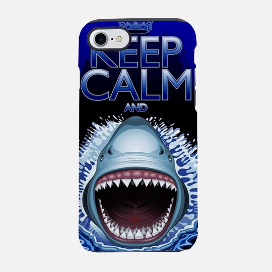Keep Calm and Shark Jaws Attac iPhone 7 Tough Case