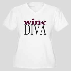 Wine Diva Women's Plus Size V-Neck T-Shirt