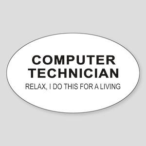 Computer Tech Oval Sticker