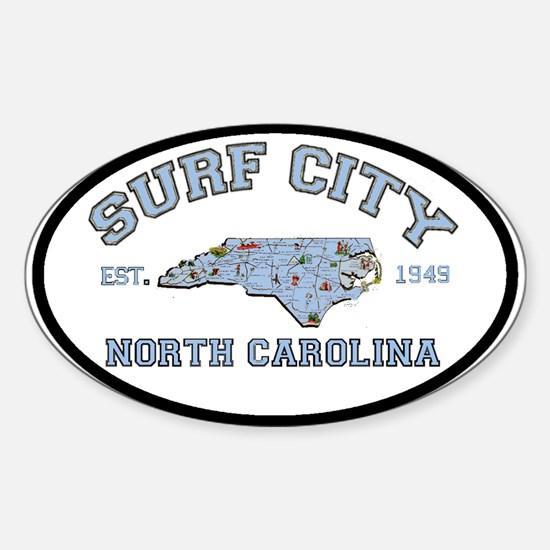 Surf City NC Oval Decal