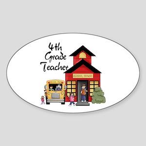4th Grade Teacher Oval Sticker