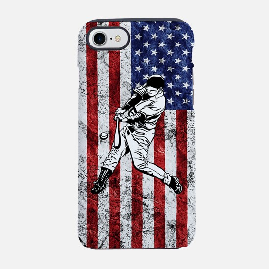 Baseball Player On Grunge Amer iPhone 7 Tough Case