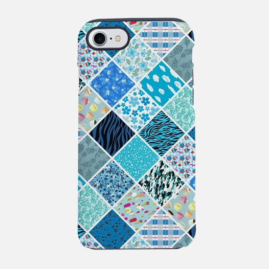 BLUE QUILT SQUARES iPhone 7 Tough Case