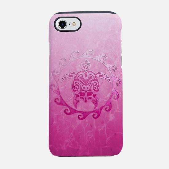 Pink Tribal Turtle Sun iPhone 7 Tough Case