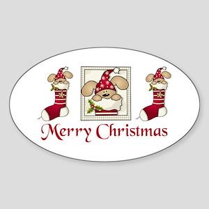 Christmas stocking Oval Sticker