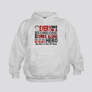 HERO Comes Along 1 Dad LUNG CANCER Kids Hoodie