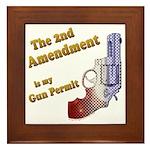 2nd Amendment Gun Permit Framed Tile