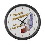 2nd Amendment Gun Permit Large Wall Clock
