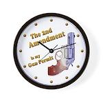 2nd Amendment Gun Permit Wall Clock