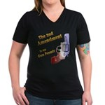 2nd Amendment Gun Permit Women's V-Neck Dark T-Shi