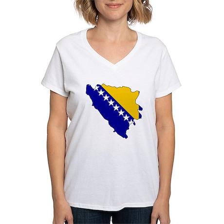 Bosnia and Herzegovina Flag Women's V-Neck T-Shirt