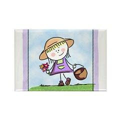 Garden Girl Rectangle Magnet
