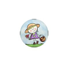 Garden Girl Mini Button
