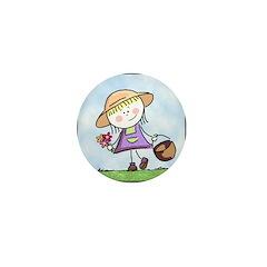 Garden Girl Mini Button