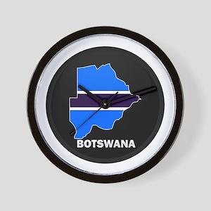 Flag Map of Botswana Wall Clock