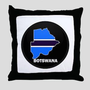 Flag Map of Botswana Throw Pillow