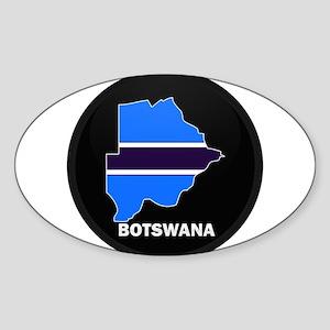 Flag Map of Botswana Oval Sticker