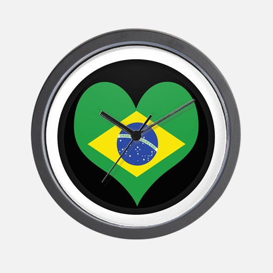 I love Brazil Flag Wall Clock