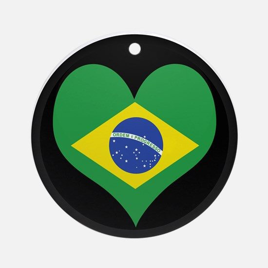 I love Brazil Flag Ornament (Round)